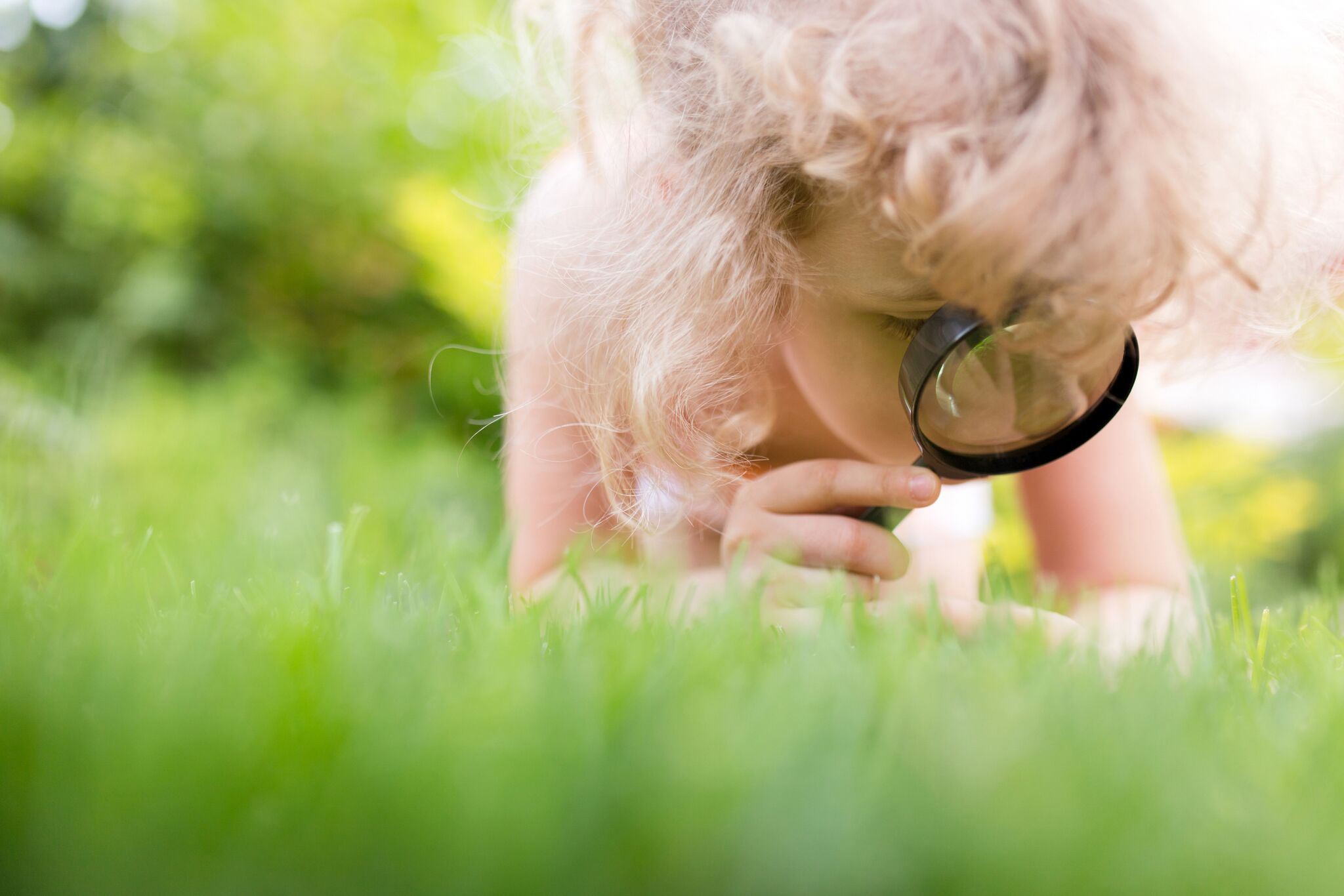 Residential landscape maintenance child looking at grass
